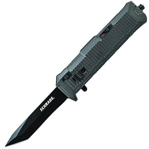 """Schrade Viper Out The Front Assisted Opening 3.35"""" Serrated Double Edged Tanto AUS-8 Blade with Aluminum Handle Black"""
