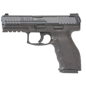 "H&K VP9-B Semi Auto Pistol 9mm Luger 4.09"" Barrel 15 Rounds Standard Three Dot Sights Reversible Button Magazine Release Polymer Frame Matte Black Finish"