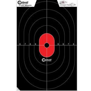"""Caldwell Shooting Supplies Flake Off Center Mass  Silhouette Paper Target Black and Red 12""""x18"""" 8 Pack 412-803"""