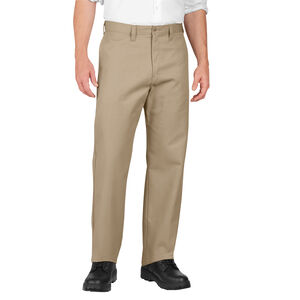Dickies Men's Industrial Flat Front Pants Polyester / Cotton Waist 32 Length 30 Desert Sand LP812