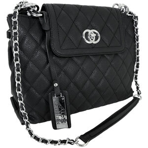 """Cameleon Coco Purse with Concealed Carry Gun Compartment 13""""x8""""x3"""" Quilted Synthetic Leather Black"""