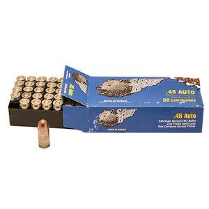 Silver Bear .45 ACP Ammunition 50 Rounds Zinc Plated Steel Case FMJ 230 Grains AS45FMJ