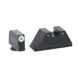 Ameriglo XL Tall Sight Set for GLOCK Green Tritium Front Dot with White Outline and Green Tritium with Black Outline Rear Dot