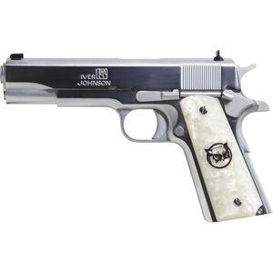 "Iver Johnson 1911A1 .45 ACP Semi Auto Pistol 8 Rounds 5"" Barrel Synthetic White Pearl Grips Chrome Finish"