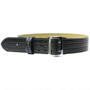 "Safariland Stitched Edge Sam Browne Duty Belt 30"" with Chrome Buckle 2.25"" Width Basket Weave Finish Black 875-30-8"
