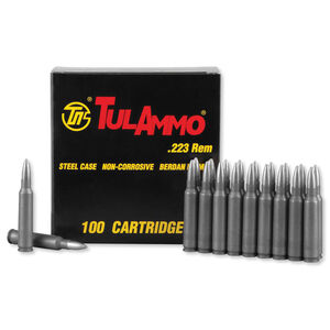 TulAmmo .223 Remington Ammunition 100 Rounds, Steel Case HP, 75 Grain