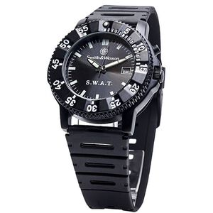 Smith & Wesson SWAT Watch with Rubber Strap Water Resistant S&W Logo Glow In The Dark Dials Black SWW-45