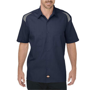 Dickies Men's Short Sleeve Performance Shop Shirt Medium Dark Navy/Smoke