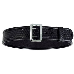 "Bianchi 7960 AccuMold Sam Browne Duty Belt 40-42"" Waist 2.25"" Wide Brass Buckle Four Part Laminate Basket Weave Black 22250"