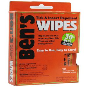 Adventure Medical Tender Ben's  30 DEET Tick And Insect Repellent Individual Wipes 12 Pack 0006-7085