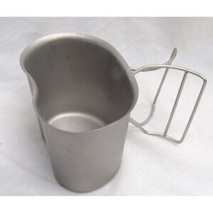 Original U.S. Military Butterfly Handle Canteen Cup Stainless Steel NSN: 8465-00-165-6838