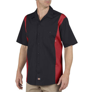 Dickies Men's Industrial Color Block Short Sleeve Shirt Large-Tall Black/English Red
