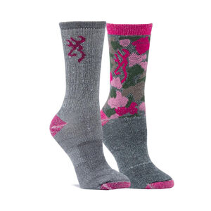 Browning Ladies Wool Blend Socks Size 6-10 Assorted Designs Medium Gray and Pink 2 Pack