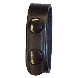 "Stallion Leather 3/4"" Wide Belt Keeper Brass Snaps Basket Weaver Finish Black"