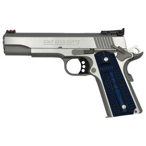 """Colt 1911 Gold Cup Lite Semi Auto Pistol 9mm Luger 5"""" National Match Barrel 9 Rounds Fiber Optic Front Sight/Bomar Style Rear Sight Colt G10 Grips Brushed Stainless Steel"""