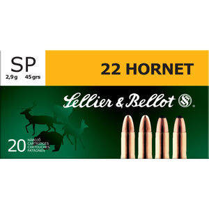 Sellier & Bellot .22 Hornet Ammunition 20 Rounds, Soft Point SP, 45 Grains