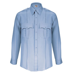 "Elbeco Textrop2 Men's Long Sleeve Shirt Neck 18 Sleeve 35"" 100% Polyester Tropical Weave Blue"