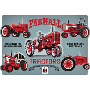 "Open Road Brands ""Farmall Evolution"" Embossed Tin Sign 18""x12"""