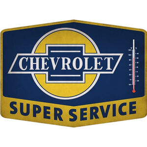"Open Road Brands ""Chevrolet Super Service"" Thermometer Tin Sign 14""x10.27"""