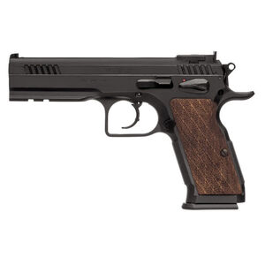 "EAA Witness Elite Stock III Semi Auto Pistol 9mm Luger 4.75"" Barrel 17 Rounds Fully Adjustable Super Sights Integral Rail Checkered Walnut Grip Blued Finish"