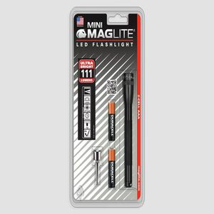 Maglite Mini LED Flashlight 2 Cell AAA Aluminum Black SP32016