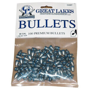 """Great Lakes Bullets and Ammunition .38 Caliber .358"""" Diameter 105 Grain Cast Lead Truncated Cone Flat Point Bullets 100 Pack B688310"""