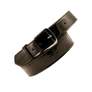 "Boston Leather 6581 Off Duty 1"" Belt 42"" Waist Nickel Buckle Clarino Hi-Gloss Black 6581-2-42"