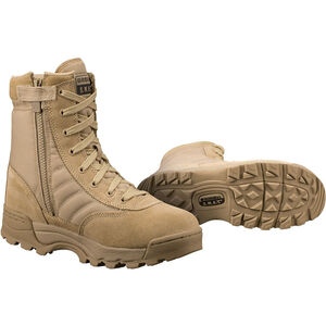 "Original S.W.A.T. Classic 9"" Side Zip Men's Boot Size 9 Regular Non-Marking Sole Leather/Nylon Tan 115202-9"