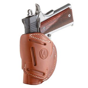 """1791 Gunleather 4 Way WH-1 Multi-Fit IWB/OWB Concealment Holster for 3""""/4"""" 1911 Models Right Hand Draw Leather Classic Brown"""