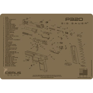 """Cerus Gear SIG P320 Schematic ProMat Handgun Size 12""""x17"""" Synthetic Coyote Tan"""