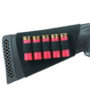Neoprene Shotgun Buttstock Shell Holder Holds 5 Shells Black