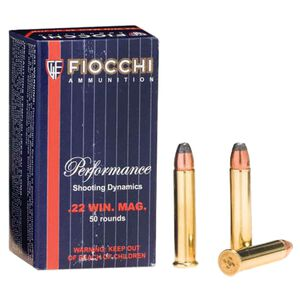 FIOCCHI .22 WMR Ammunition 50 Rounds, JSP, 40 Grains