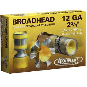 """DDupleks USA Broadhead Hexolit 32 12 Gauge Ammunition 5 Rounds 2 3/4"""" 1-1/8 oz Expanding Steel Slug Lead Free 1400 fps"""