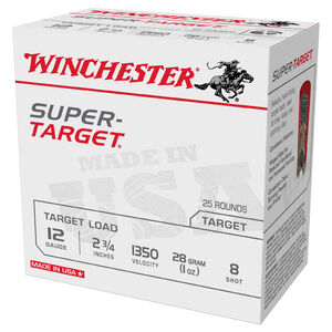 "Winchester Super-Target 12 Gauge Ammunition 250 Round Case 2-3/4"" #8 Lead 1oz 1350 fps"