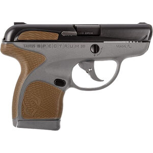 "Taurus Spectrum .380 ACP Semi Auto Pistol 2.8"" Barrel 6 Rounds Gray Polymer Frame with FDE Inserts Black Finish"
