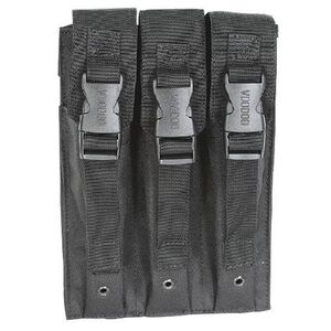 Voodoo Tactical 9mm MP5/SMG Triple Magazine Pouch Buckle Closure Flap MOLLE Webbing Compatible Nylon Black