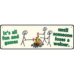 "River's Edge Products Large ""It's All Fun and Games"" Tin Sign 3.5 x 10.5 Inches 1418"