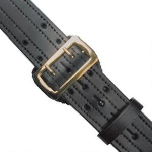 "Boston Leather 6504 Sam Browne Belt 38"" Brass Plain Black"
