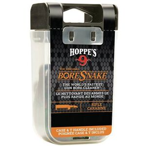 Hoppe's No. 9 Boresnake Snake Den .35/.375 Caliber Rifle Length Pull Thru Bore Cleaning Rope with Bronze Brush and Carry Case with Pull Handle Lid