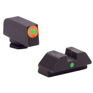 Ameriglo Tritium I-Dot Sight Set GLOCK 42/43 Green Tritium Front With Orange Outline Green Tritium Rear With Square Notch Steel Matte Black GL-205