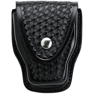 """Aker Leather Handcuff Case for Standard Handcuffs Nickel Plated Brass Snap Closure Dual Belt Slots Fits 2.25"""" Belts Basket Weave Black A508-BW"""