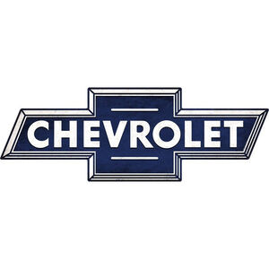 "Open Road Brands ""Chevrolet Bowtie"" Embossed Tin Sign 28""x9.77"""