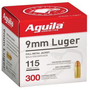 Aguila 9mm Luger Ammunition 300 Rounds 115 Grain FMJ 1150 fps