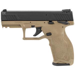 "Taurus TX22 .22 Long Rifle Semi Auto Pistol 4.1"" Barrel 16 Rounds Adjustable Rear Sight PTS Trigger Manual Safety Ergonomic Polymer Frame Black/Flat Dark Earth Finish"