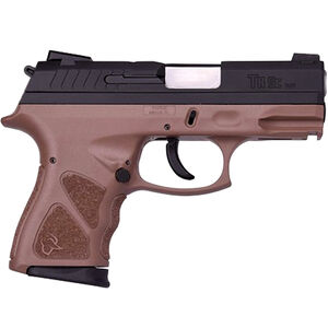 "Taurus TH9c 9mm Luger Compact Semi Auto Pistol 3.5"" Barrel 17 Rounds Novak Style Sights Thumb Safety Brown Polymer Frame Black Finish"
