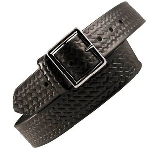 "Boston Leather 6505 Leather Garrison Belt 42"" Brass Buckle Basket Weave Leather Black 6505-3-42B"