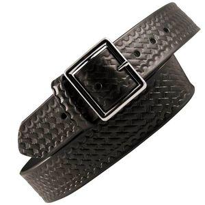 "Boston Leather 6505 Leather Garrison Belt 44"" Brass Buckle Basket Weave Leather Black 6505-3-44B"