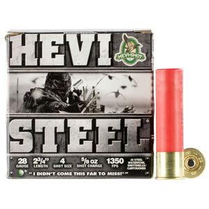 """Hevi-Shot Hevi-Steel Ammunition 28 Gauge 2-3/4"""" #4 Steel Shot 5/8 oz 1350 fps"""