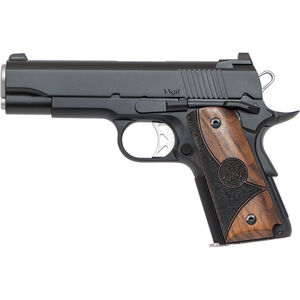 """Dan Wesson 1911 Vigil CCO 9mm Luger Semi Auto Pistol 4.25"""" Barrel 8 Rounds Fixed Front Night Sight/Tactical Rear Sight Wood Grips Forged Aluminum Frame Matte Black"""