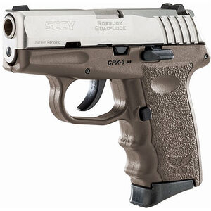 "SCCY CPX-3 .380 ACP Semi Auto Pistol 2.96"" Barrel 10 Rounds No Safety FDE Polymer Frame with Stainless Slide Finish"